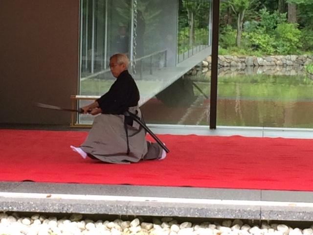 Schwertkunst vor Zen-Kulisse.